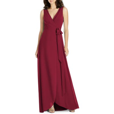 Jenny Packham Chiffon Wrap Evening Dress, Burgundy