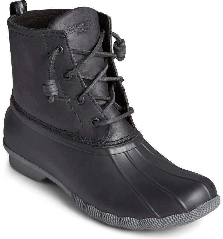SPERRY Saltwater Waterproof Rain Boot, Main, color, BLACK/ GREY LEATHER