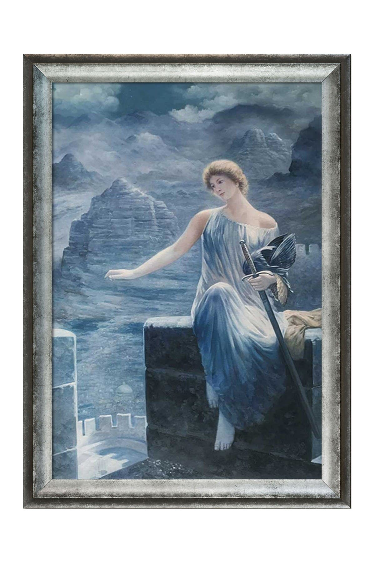 Overstock Art The Valkyrie\\\'s Vigil with Athenian Distressed Silver Frame , 29\\\