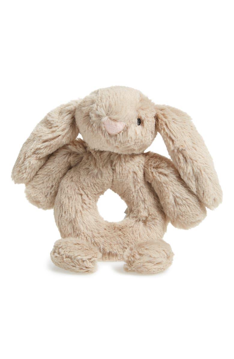 JELLYCAT 'Bashful Bunny' Grabber Rattle, Main, color, BEIGE