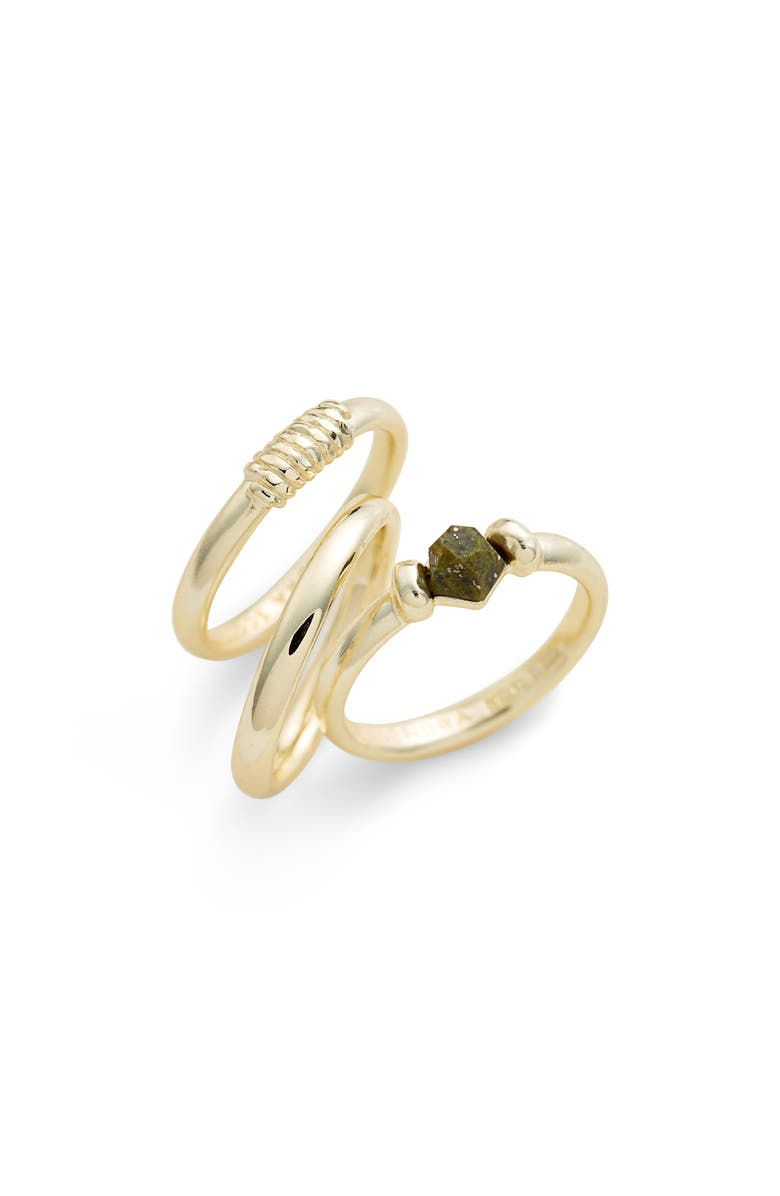 KENDRA SCOTT Ellms Set of 3 Stacking Rings, Main, color, GOLD/ OLIVE EPIDOTE