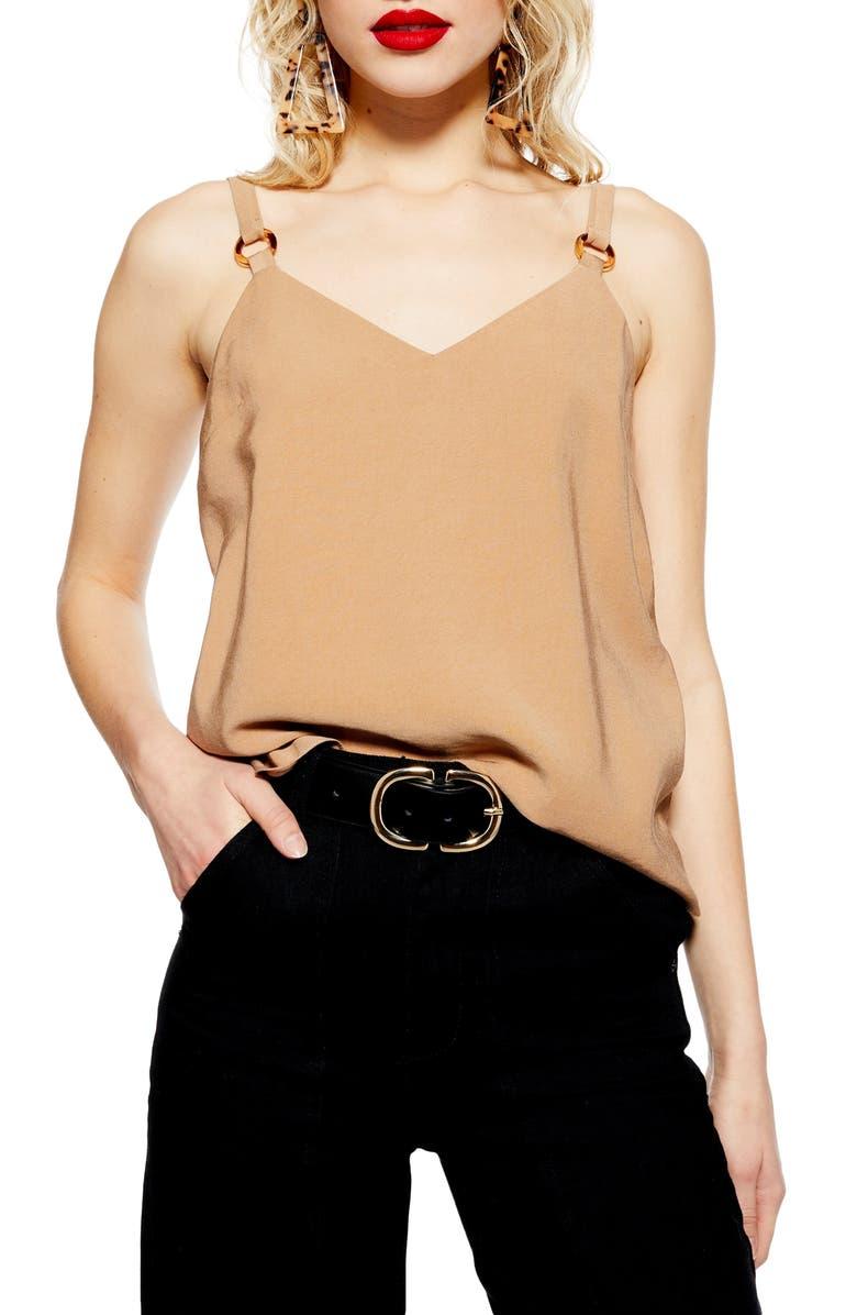 TOPSHOP Tilda Ring Camisole Top, Main, color, CAMEL