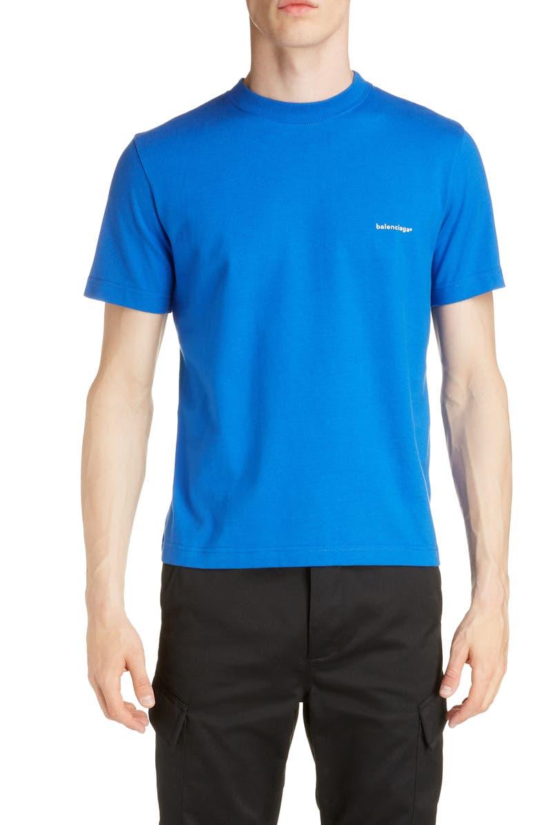 BALENCIAGA Crewneck T-Shirt, Main, color, SAPPHIRE