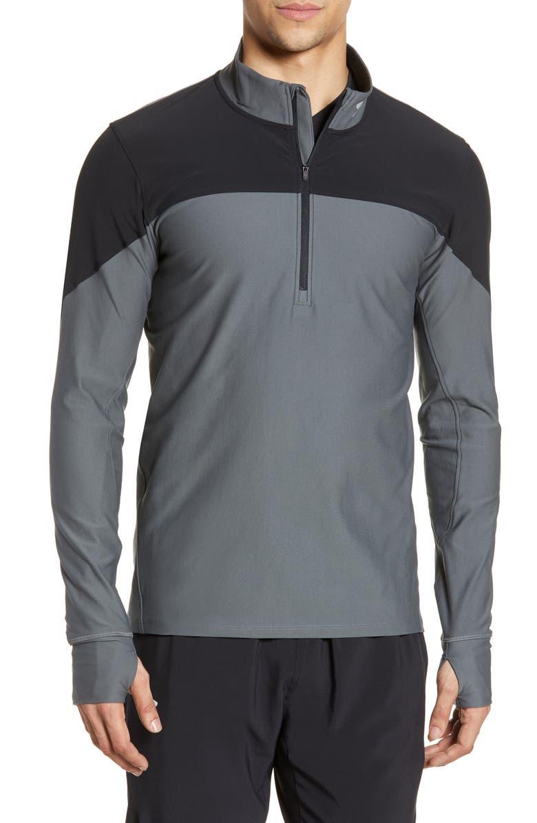 UNDER ARMOUR HeatGear<sup>®</sup> Colorblock Half Zip Pullover, Main, color, BLACK/ PITCH GREY/ REFLECTIVE