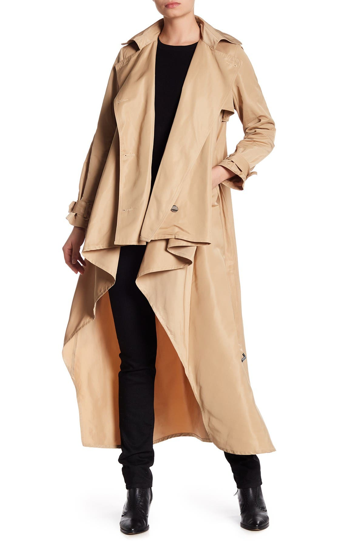 Image of TOV Double-Breasted Belted High/Low Trench Coat