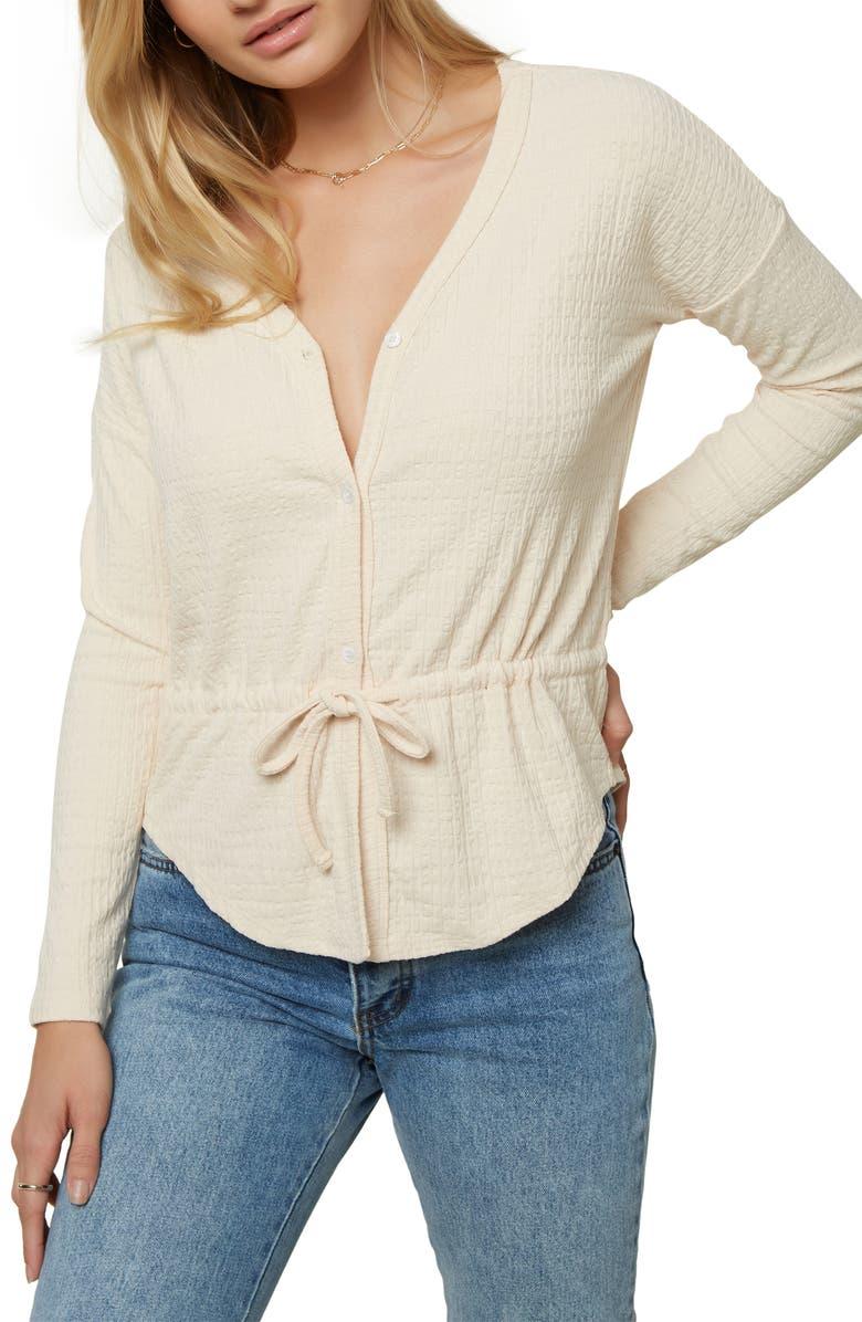 O'NEILL Lydia Long Sleeve Knit Top, Main, color, MACADAMIA