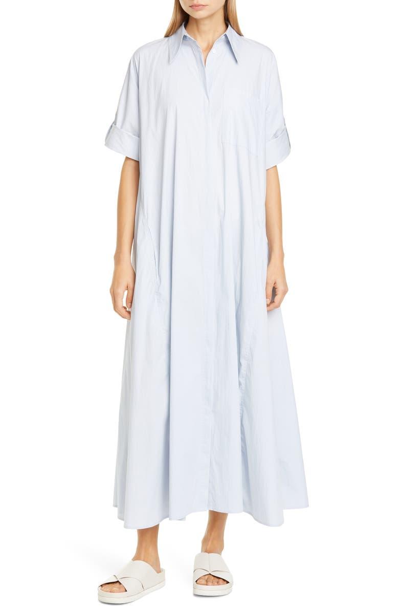 CO Long Sleeve Maxi Shirtdress, Main, color, BLUE