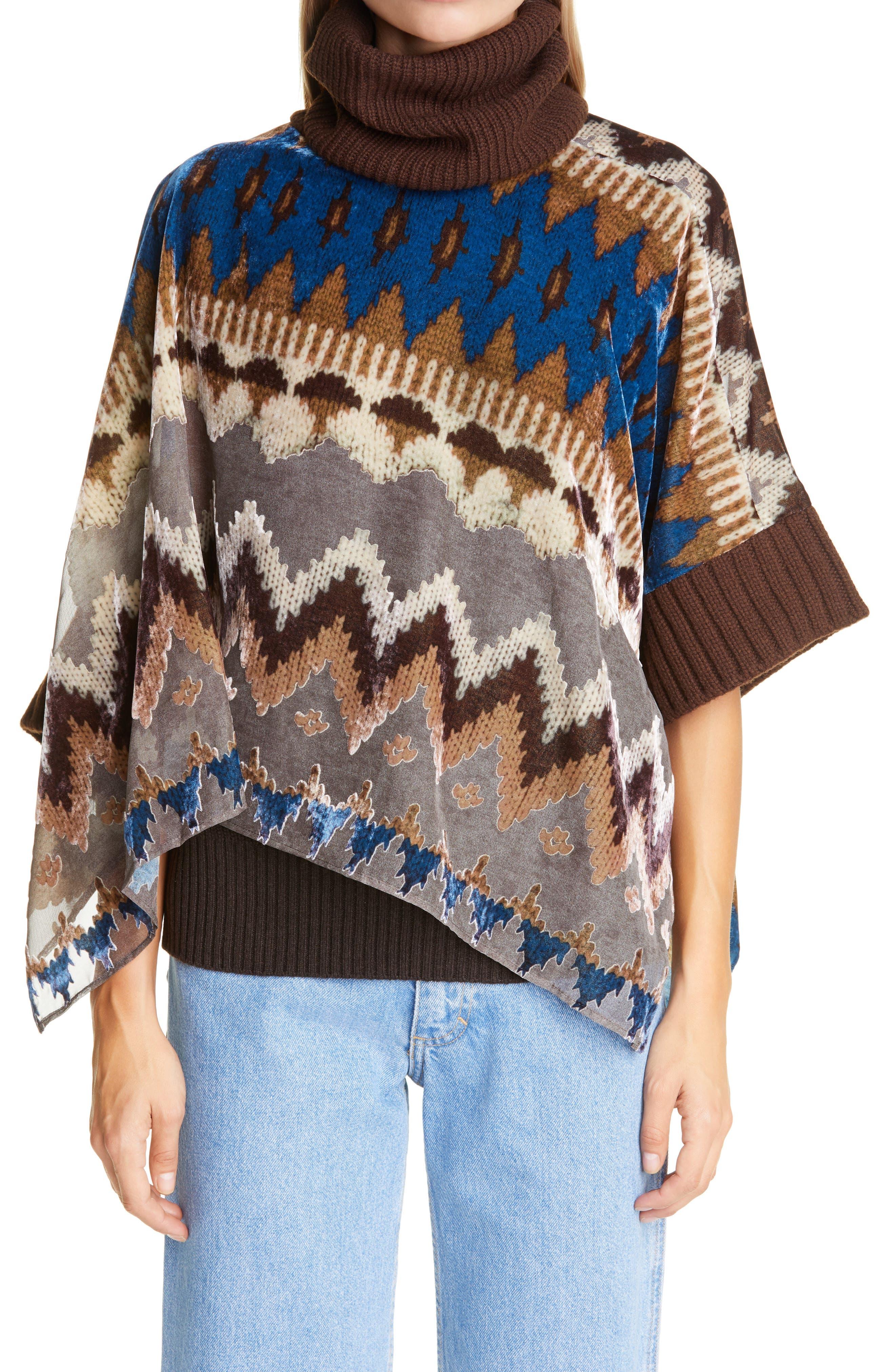 Sacai Nordic Opal Velvet Burnout & Wool Pullover | Nordstrom