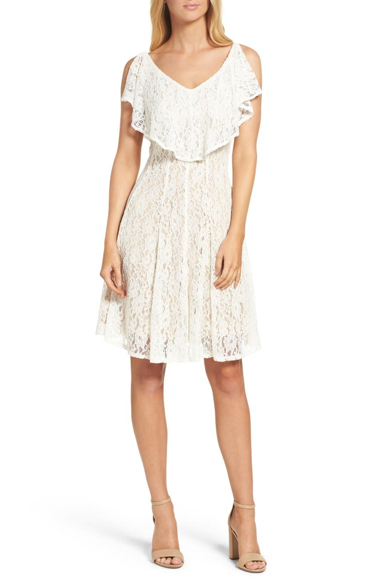 GABBY SKYE Lace Popover Dress, Main, color, IVORY/ NUDE