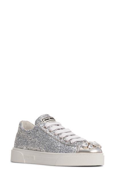 Miu Miu Crystal Cap Toe Glitter Sneaker In Silver