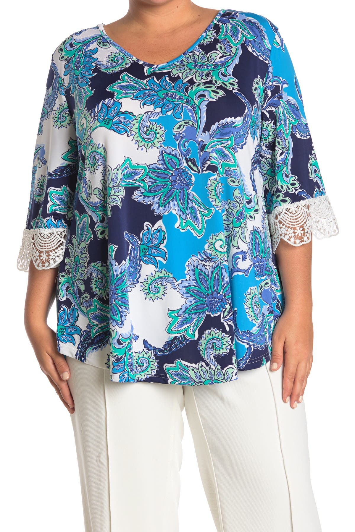 Image of STEM AND VINE Printed Scallop Lace Trim Top