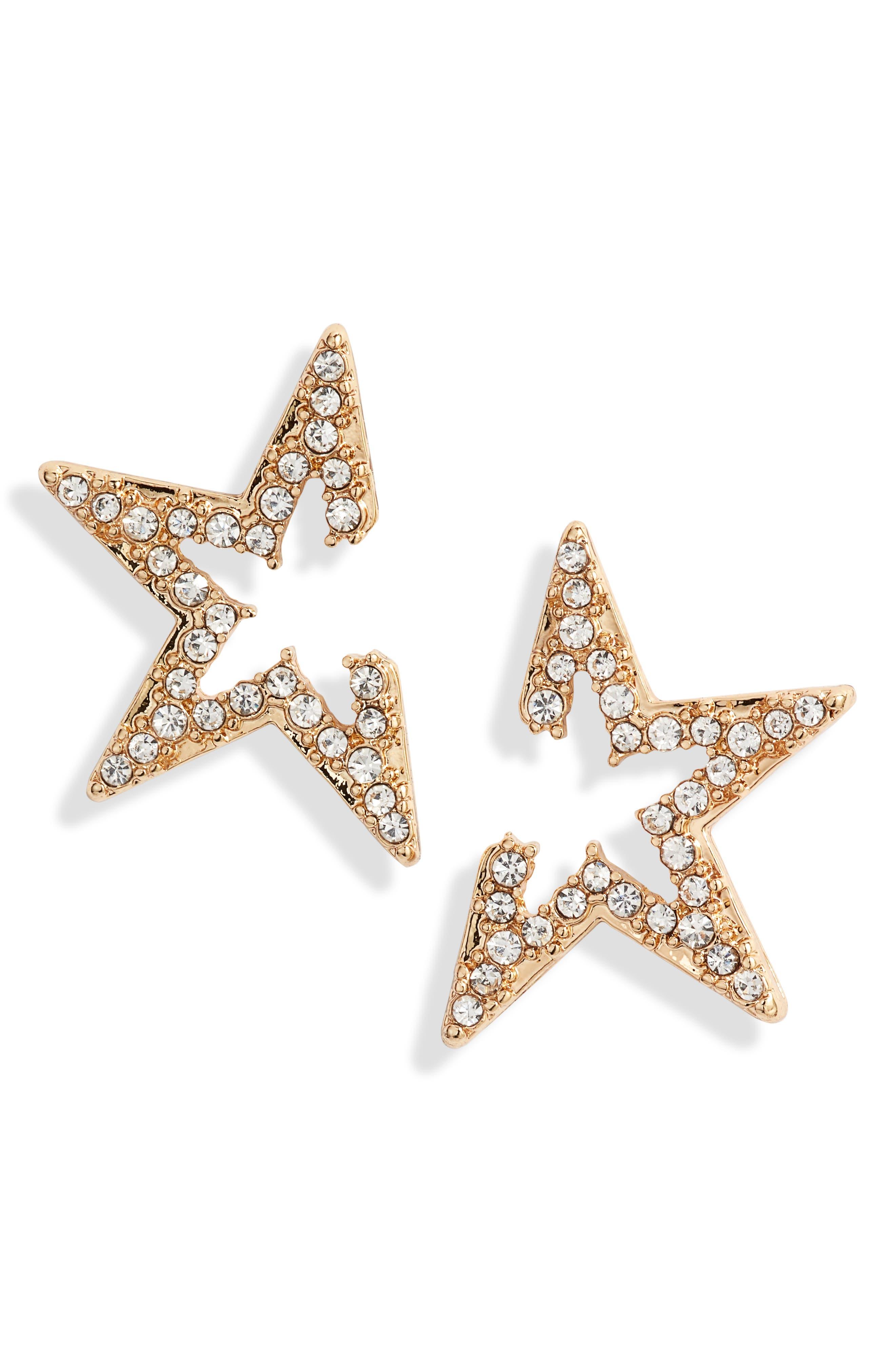Star Light Crystal Embellished Stud Earrings