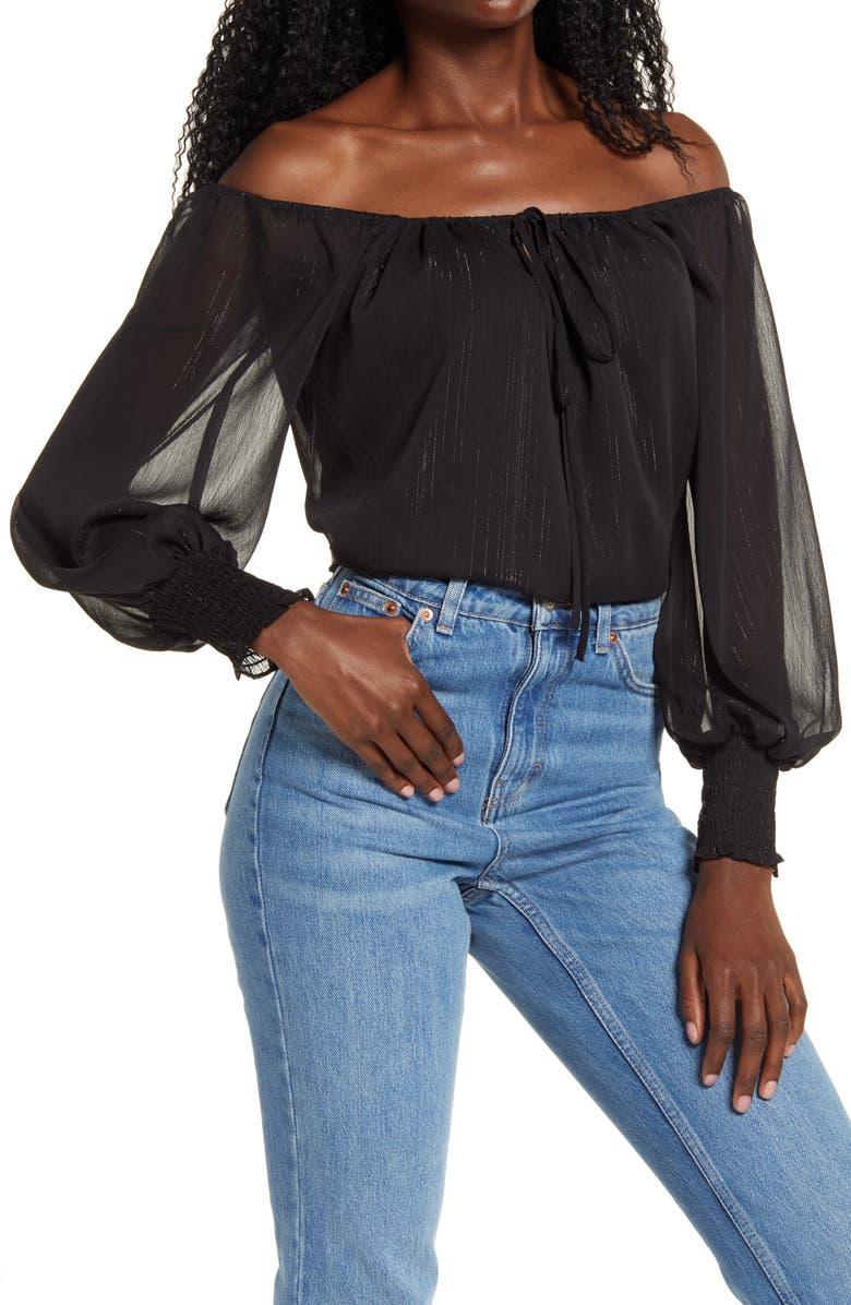 WAYF x BFF Sarah Metallic Off the Shoulder Top, Main, color, BLACK LUREX STRIPE