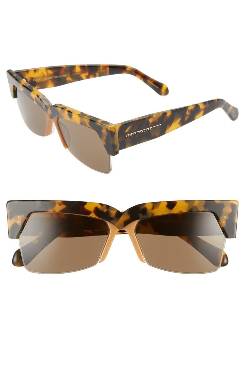KAREN WALKER Ezra 58mm Semi Rimless Sunglasses, Main, color, CRAZY TORT/ BROWN MONO