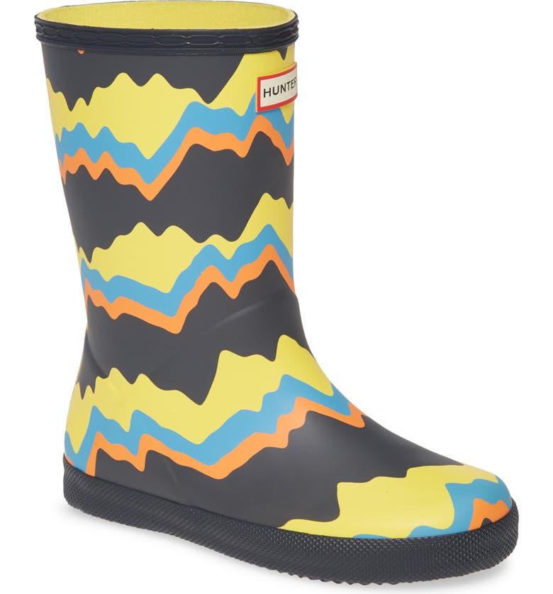 HUNTER Classic Storm Stripe Waterproof Rain Boot, Main, color, NAVY