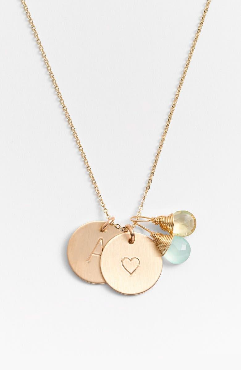 NASHELLE Aqua Chalcedony, Lemon Quartz, Initial & Heart 14k-Gold Fill Disc Necklace, Main, color, AQUA AND LEMON A