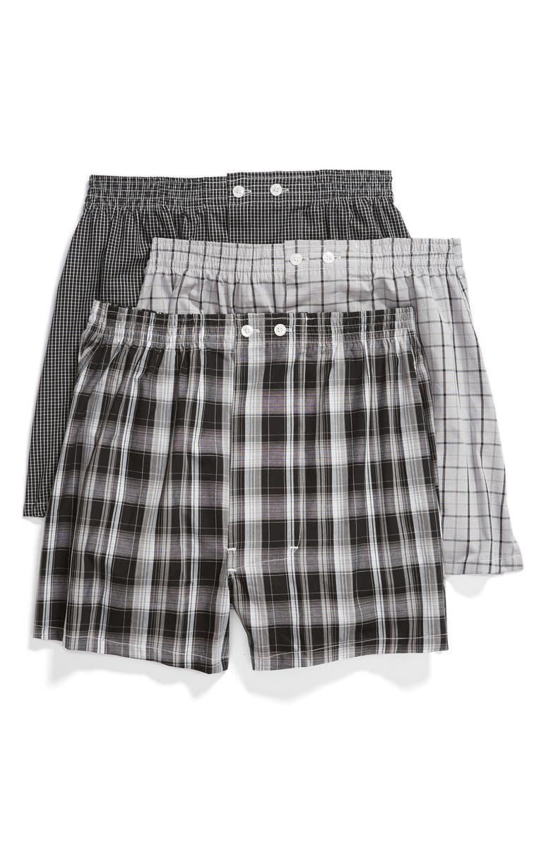 NORDSTROM MEN'S SHOP 3-Pack Classic Fit Boxers, Main, color, BLACK- WHITE PLAID PACK