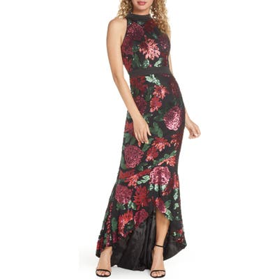 Chi Chi London Santana Sequin Floral High/low Evening Gown, Black
