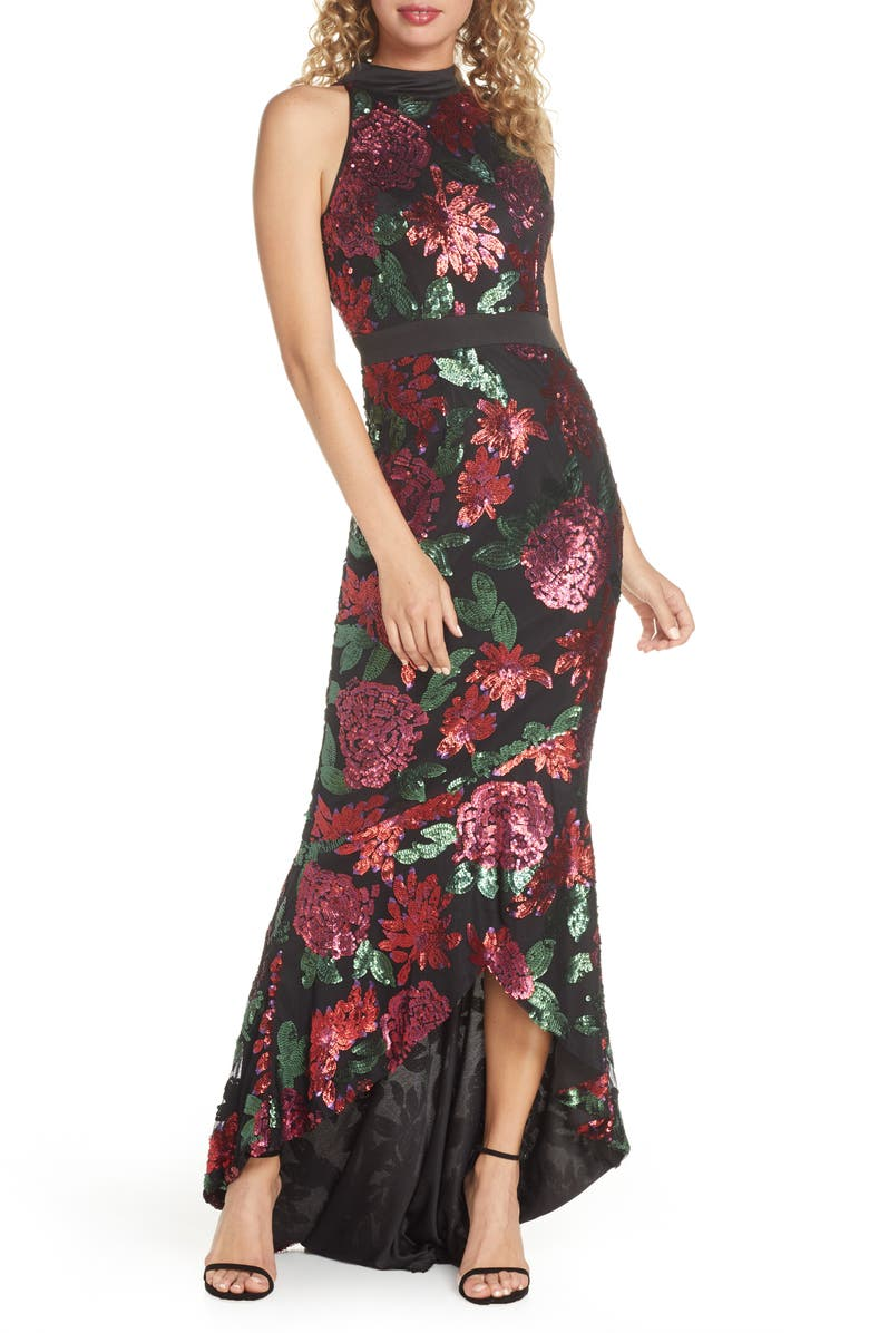 CHI CHI LONDON Santana Sequin Floral High/Low Evening Gown, Main, color, BLACK