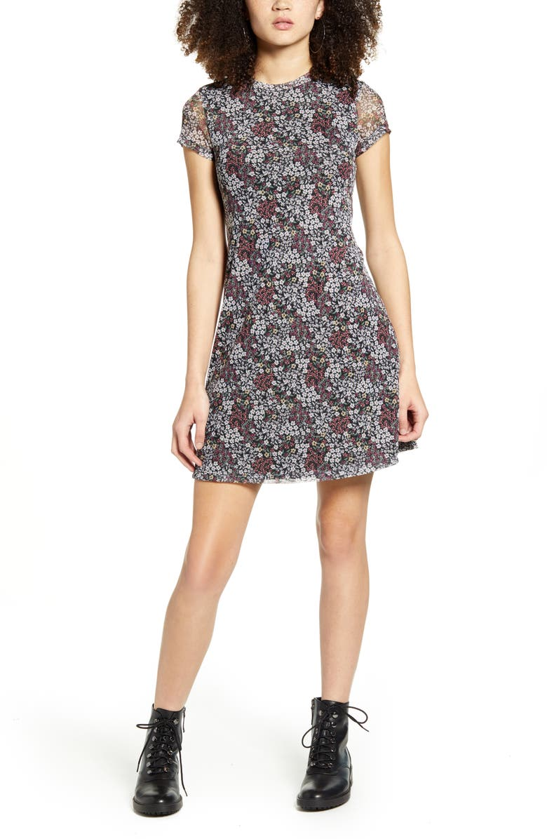 LA LA LAND CREATIVE CO Floral Mesh Dress, Main, color, 001
