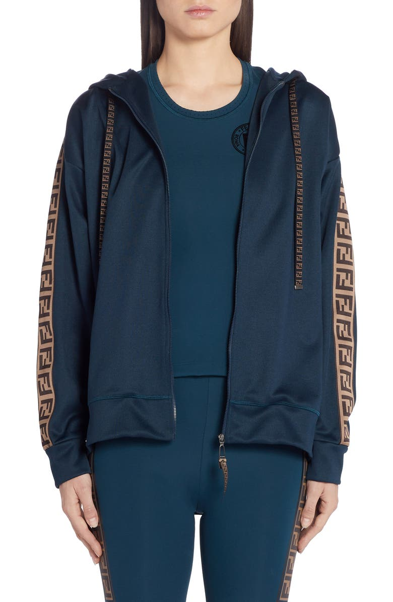 FENDI FF Logo Hooded Jersey Jacket, Main, color, 470