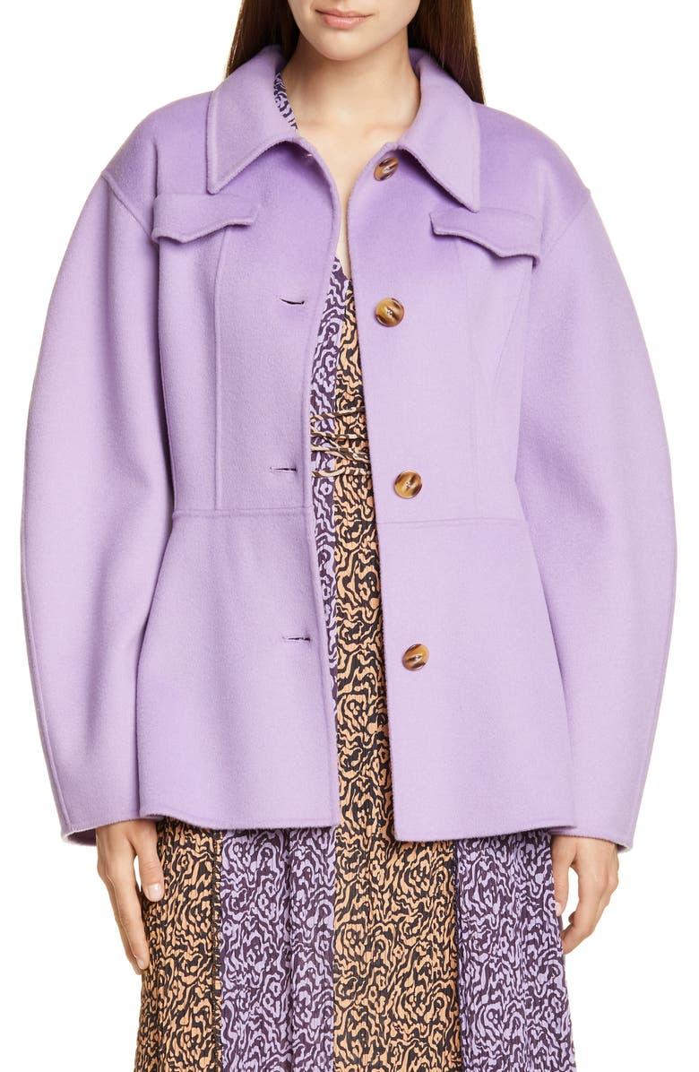 NANUSHKA Adut Belted Wool & Silk Jacket, Main, color, LILAC