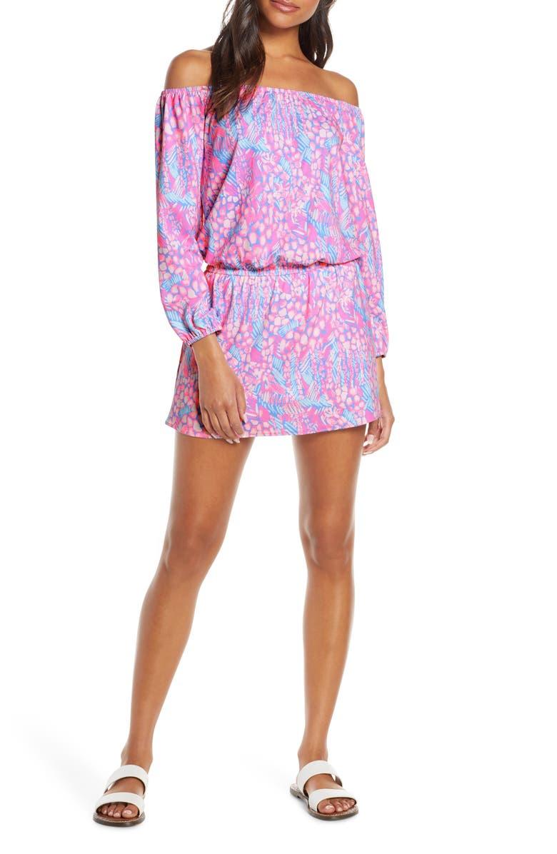 LILLY PULITZER<SUP>®</SUP> Lana Long Sleeve Off the Shoulder Skort Romper, Main, color, PINK SORBET HIGH ALTITUDE