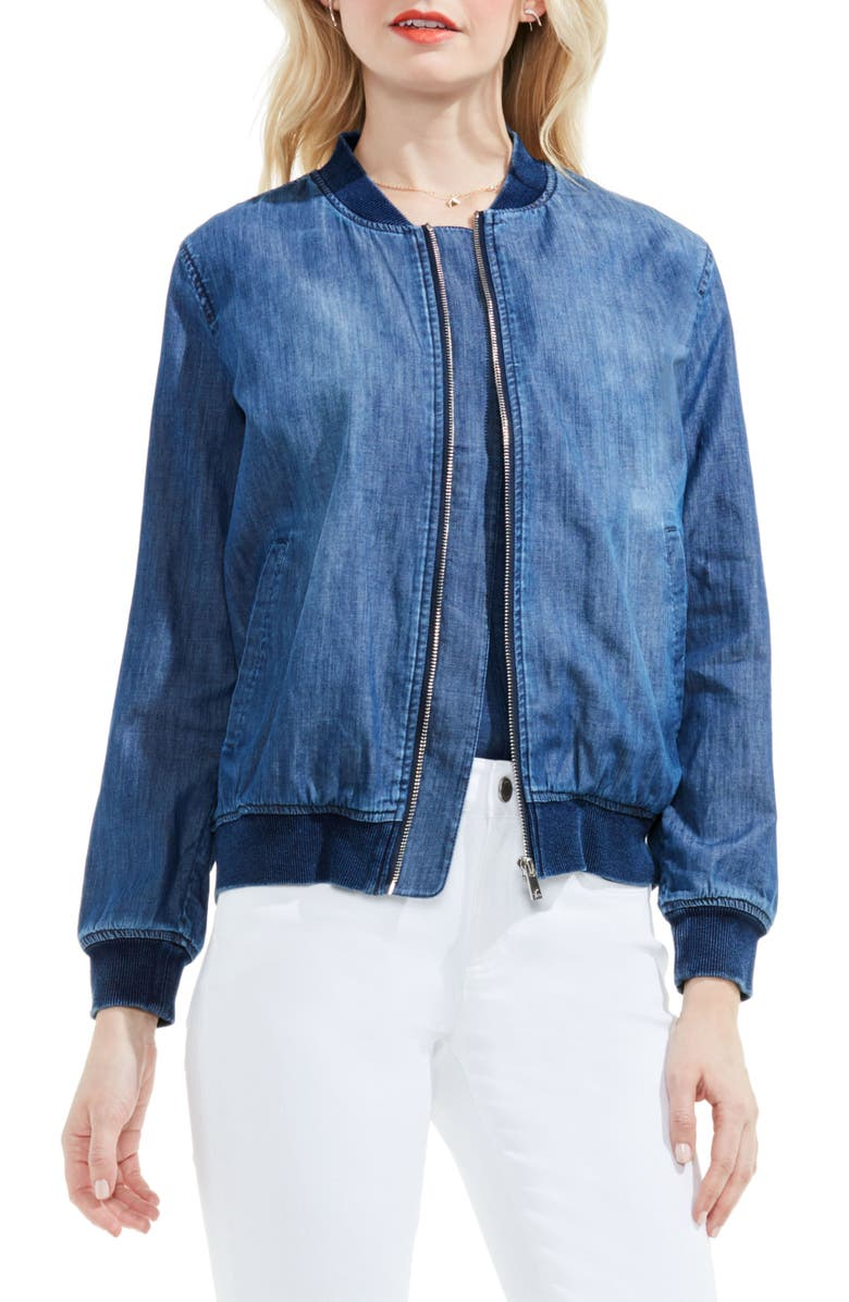 TWO BY VINCE CAMUTO Washed Denim Bomber Jacket, Main, color, 491