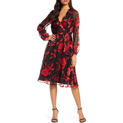 Julia Jordan Floral Long Sleeve Velvet Burnout Faux Wrap Dress, Black