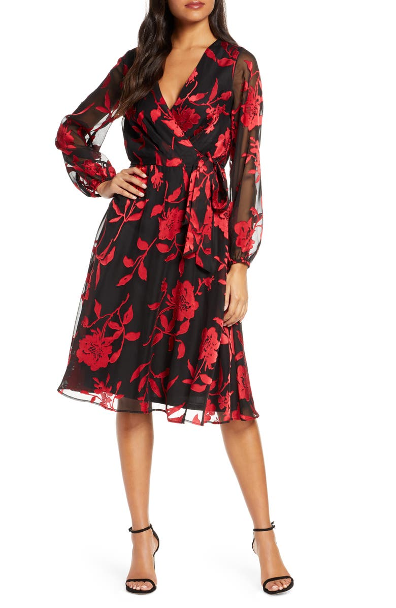 JULIA JORDAN Floral Long Sleeve Velvet Burnout Faux Wrap Dress, Main, color, BLACK/ RED
