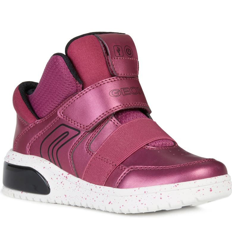 GEOX XLED Water Resistant Bluetooth<sup>®</sup> Light-Up Sneaker, Main, color, FUCHSIA/ BLACK