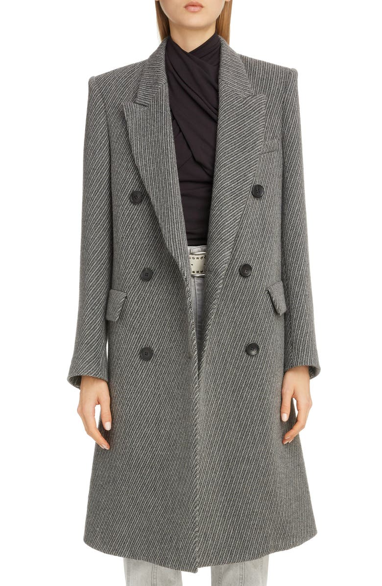 ISABEL MARANT Stripe Wool Menswear Coat, Main, color, GREY