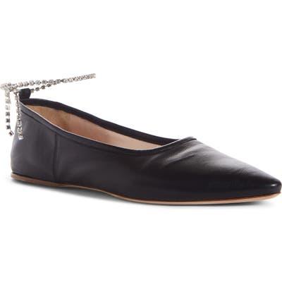 Miu Miu Crystal Anklet Flat - Black