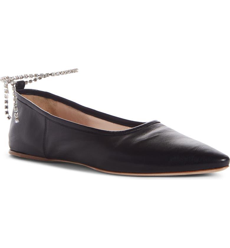 MIU MIU Crystal Anklet Flat, Main, color, BLACK