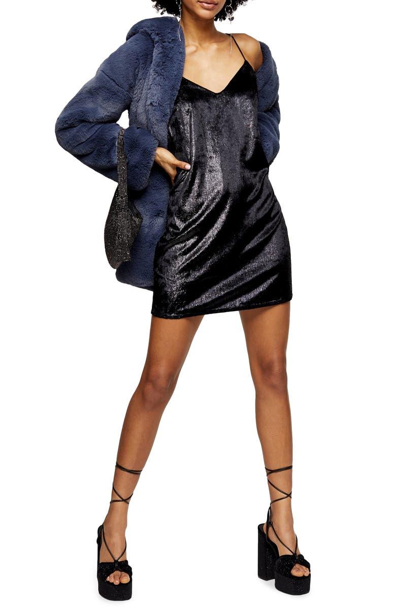 TOPSHOP Glitter Velvet Mini Slipdress, Main, color, BLACK