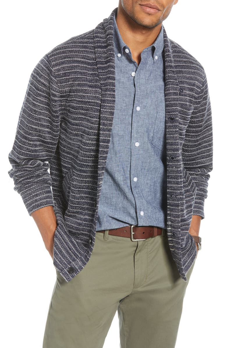 1901 Shawl Collar Fleece Cardigan, Main, color, NAVY IRIS WHITE STRIPE