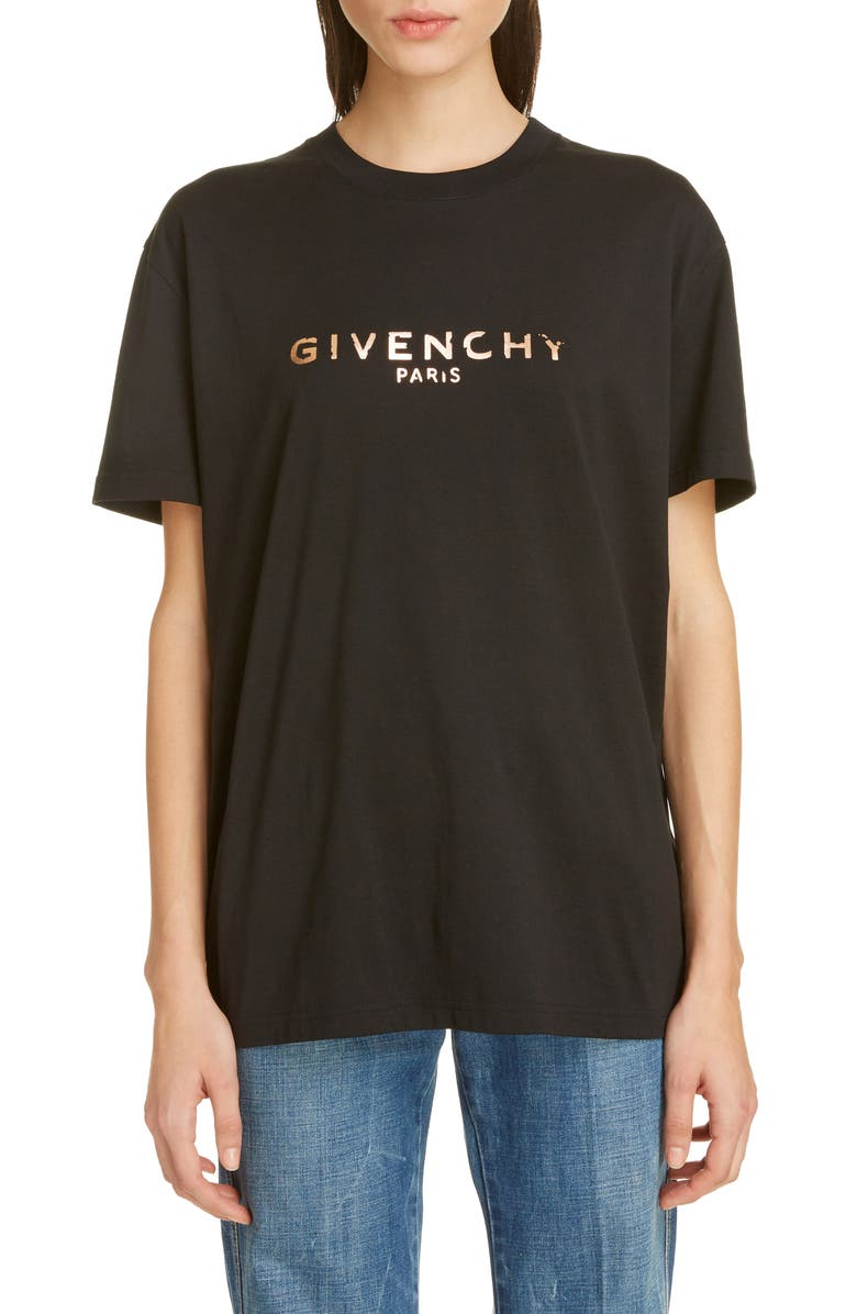 GIVENCHY Chipped Rose Gold Logo Tee, Main, color, BLACK
