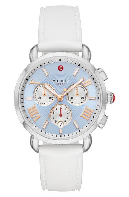 Michele Sport Sail Chronograph Watch Head With Silicone Strap, 38mm In White/ Sky Sunray/ Silver