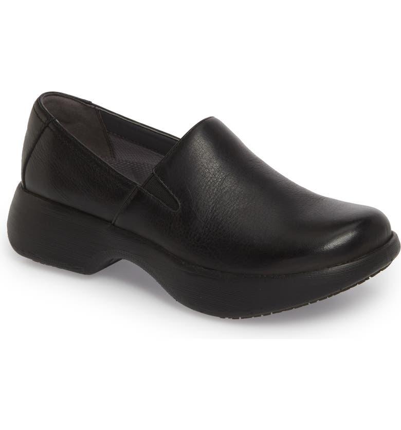 DANSKO Winona Slip-On Clog, Main, color, BLACK MILLED LEATHER