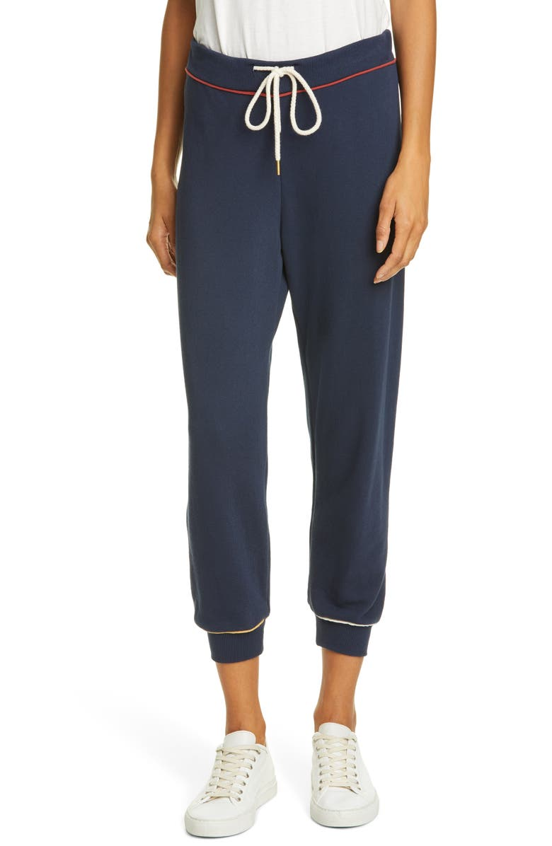 THE GREAT. The Cropped Sweatpants, Main, color, NAVY