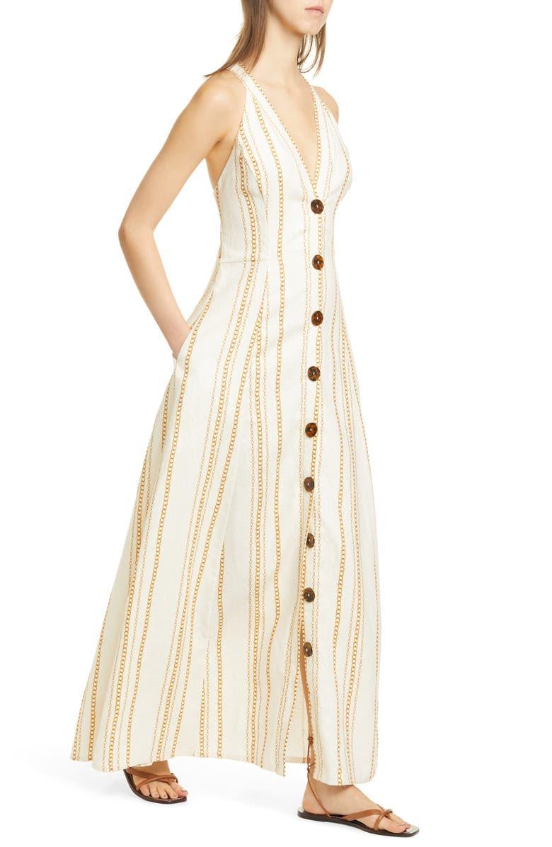 NICHOLAS Yasmine Chain Print Linen Maxi Dress, Main, color, VINTAGE CHAIN - IVORY