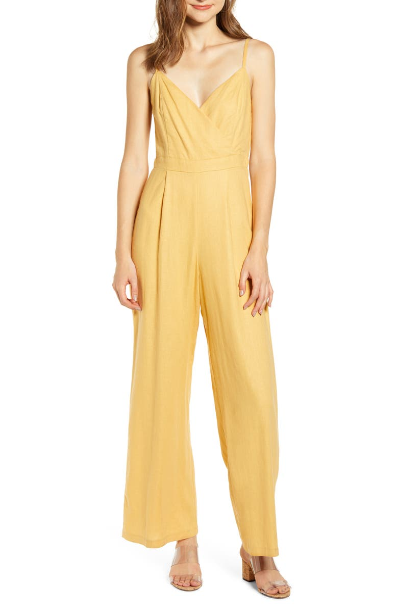 JUNE & HUDSON Tie Back Jumpsuit, Main, color, HONEY