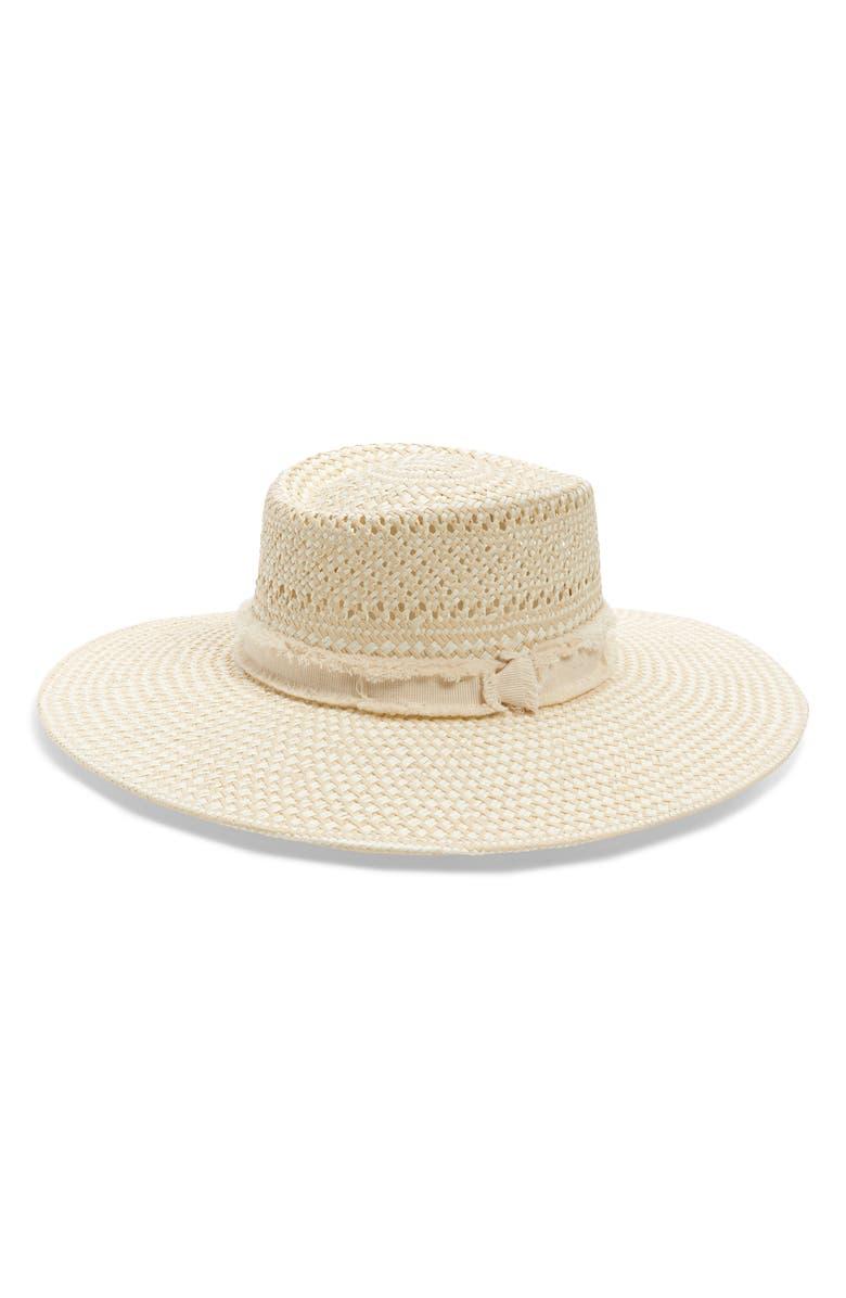 TREASURE & BOND Wide Brim Straw Hat, Main, color, NATURAL LIGHT COMBO