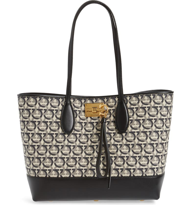 SALVATORE FERRAGAMO The Studio Piccolo Jacquard Canvas & Leather Tote, Main, color, BLACK/ WHITE JAQUARD PRINT