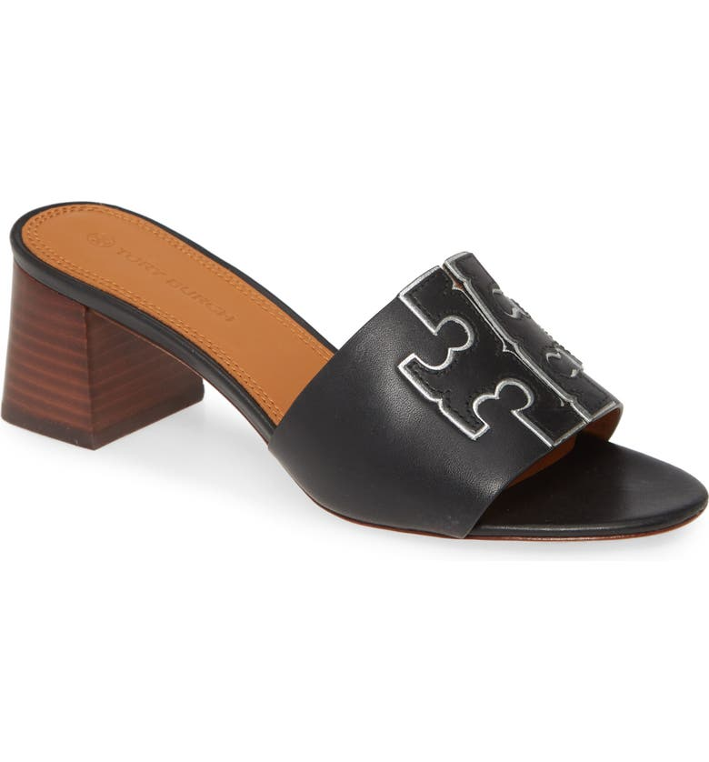 TORY BURCH Ines Slide Sandal, Main, color, PERFECT BLACK / SILVER