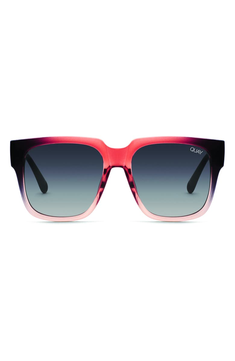 QUAY AUSTRALIA 'On the Prowl' 55mm Square Sunglasses, Main, color, BLACK OFF/ SMOKE