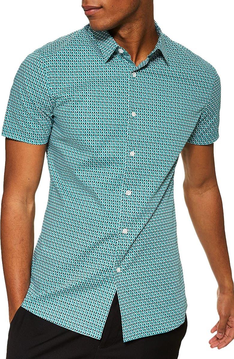TOPMAN Stretch Skinny Fit Cross Geometric Shirt, Main, color, BLUE MULTI