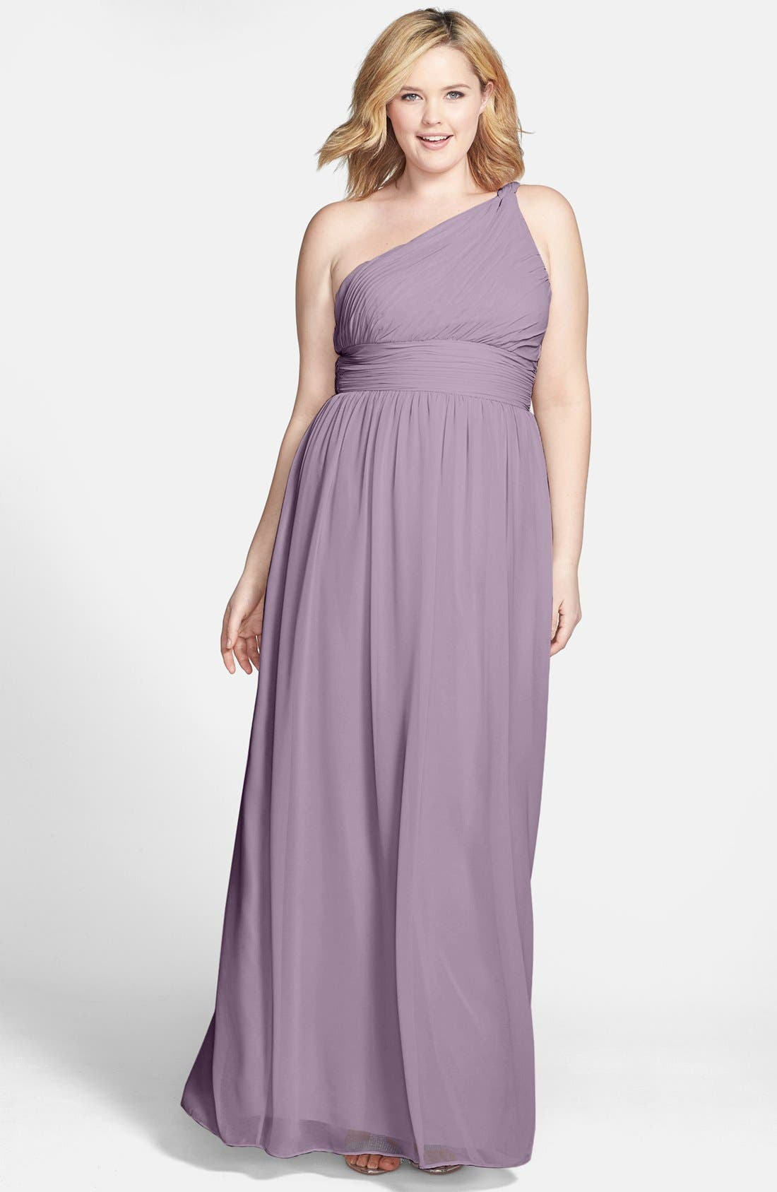 ,                             'Rachel' Ruched One-Shoulder Chiffon Gown,                             Alternate thumbnail 8, color,                             020