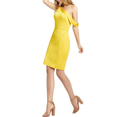 MAC Duggal One-Shoulder Cocktail Dress, Yellow