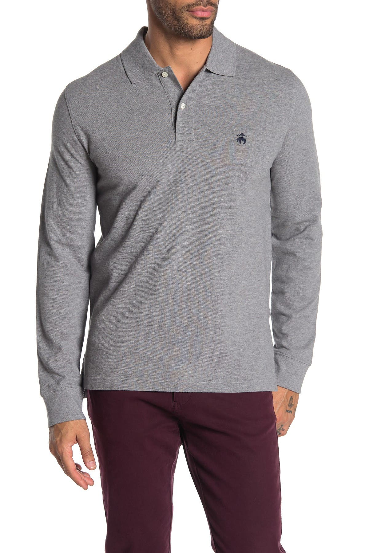 Image of Brooks Brothers Knit Long Sleeve Polo